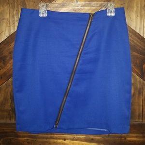 Blue mini skirt with zipper
